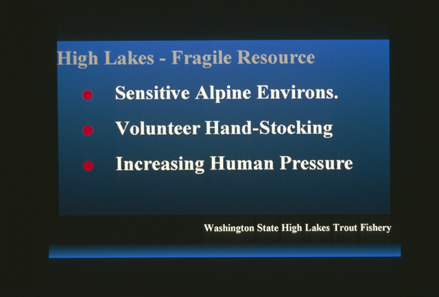 Although the larger lakes tend to be the ones with fish, the high lake fishery is a fragile resource.  The lakes themselves are sensitive alpine environments.  The bulk of stocking is hand stocking by volunteers.  Increasing human usage of wilderness is putting stress on the alpine environment and the fishery.