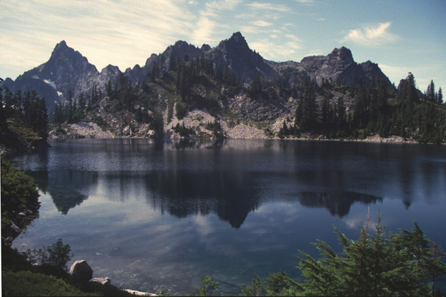 This slide is the view westward at Gem Lake toward Big Chair, Kaleetan and Roosevelt peaks.  This is a reminder that the settings for this fishery can provide world class views.