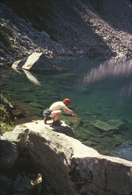 Pete Smith releasing a fish at Trap Lake near the Pacific Crest Trail.  Since it is recommend that you only keep a couple of fish to eat, knowing proper catch & release technique is recommended.