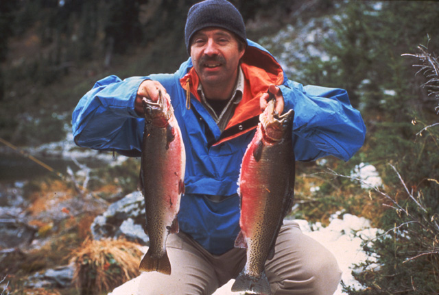 Here is a slide of Larry Hirni holding those two large Twin Lakes cutthroat.