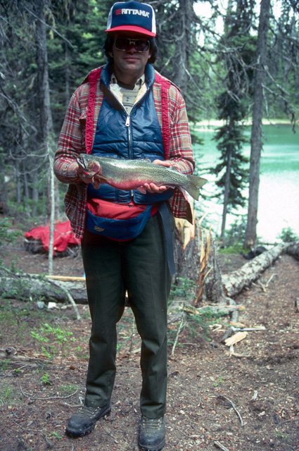 Here is a picture of WDFW biologist Jim Cummins with an 18 inch Twin Lakes cutthroat from a lake in the William O. Douglas Wilderness near Crystal Mountain.