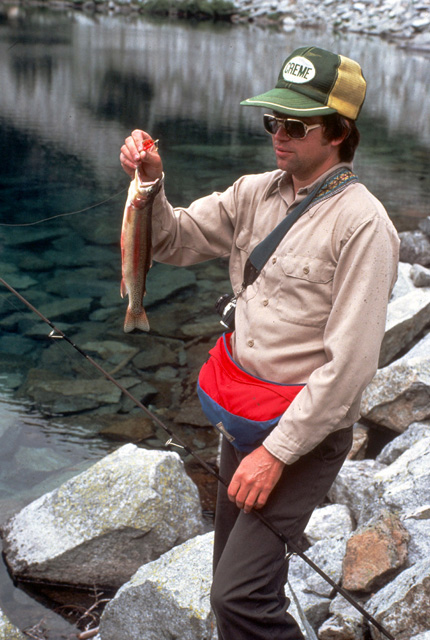 Here WDFW biologist Jim Cummins holds one of the golden trout from the previous slide.