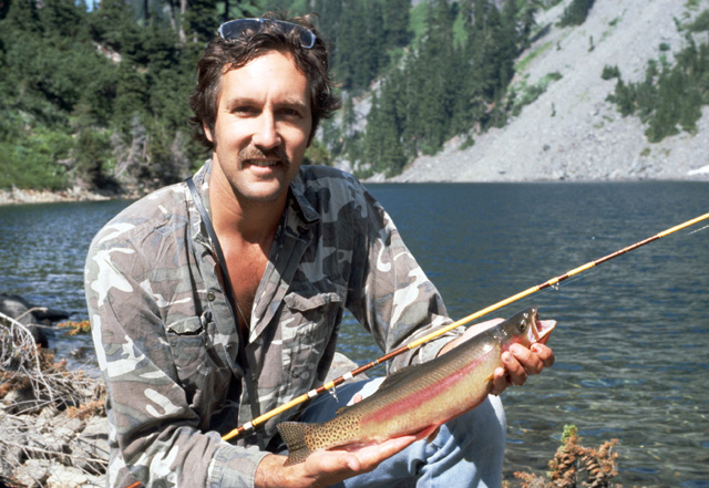 This was my first high lakes golden trout, 16 inches, about 2.5 pounds.  Note the camoflage shirt that I am wearing to allow stalking fish that may be feeding in the shallows, which is were this fish was caught using a slow sinking bubble and gold ribbed hare's ear fly.