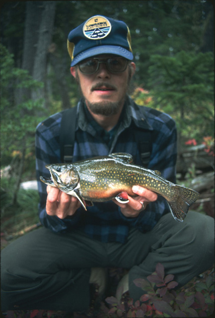 John Thomas holds another 12 inch brook trout in excellent condition from the Indian Heaven Wilderness.