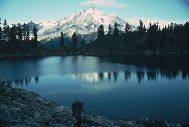 The scenary is as stunning as the fish. Here is a view of Glacier Peak from Lk Byrne.
