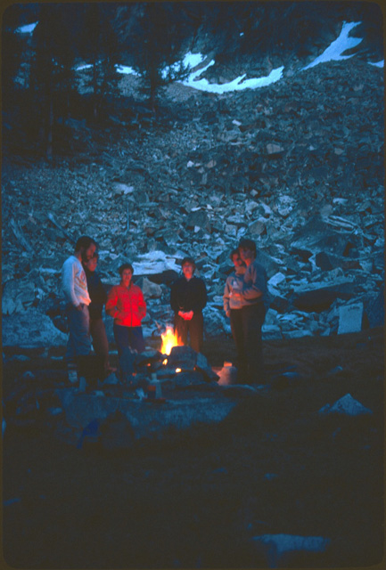 Campfires are seldom allowed at lake shore areas any more.  While campfires provide some warmth and a central conversation point, their impact on fragile camping areas and surrounding tree vegetation is severe.  Camping areas by lakes near the Pacific Crest Trail that were denuded in the 1960s to early 1980s recovered quickly once campfire bans were enacted.