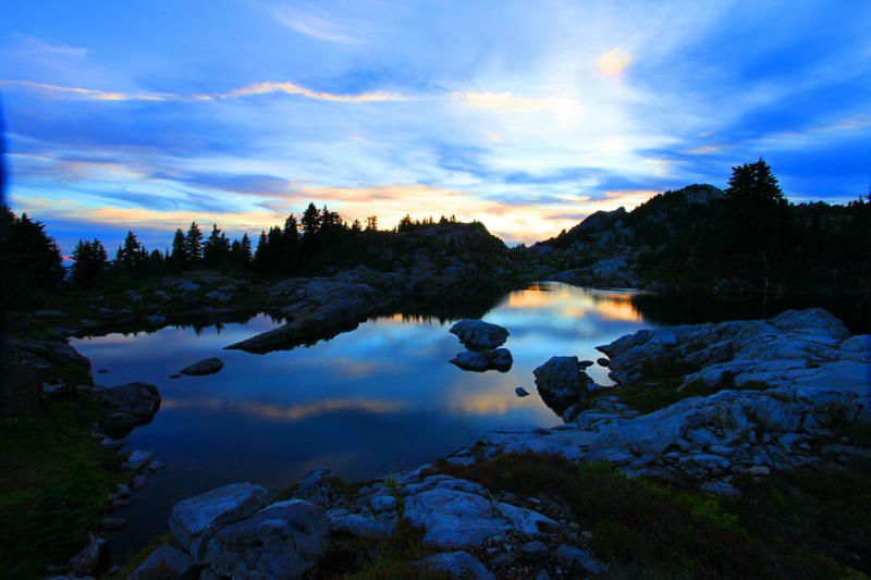 Bathtub lakes at night